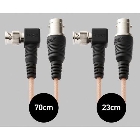 Atomos Samurai Right-Angle SDI Cable Set (1x 23cm mini-BNC/BNC adapter, 1x 70cm mini-BNC/BNC cable)